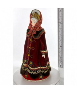 Porcelain ethographic art doll Young in  traditional festive dress 18th century Russia Handmade souvenir