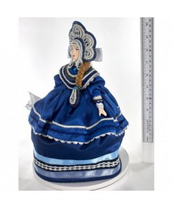 Porcelain tea cosy art doll Russian beauty folk costume Handmade souvenir