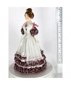 Porcelain art doll Lady in fashionable costume 19th century Petersburg Handmade souvenir