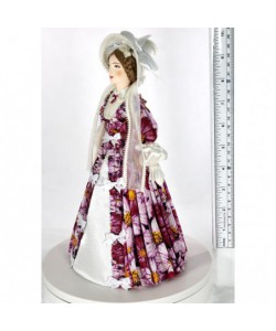 Porcelain art doll Lady in a fashionable costume 19th century Russia Handmade souvenir