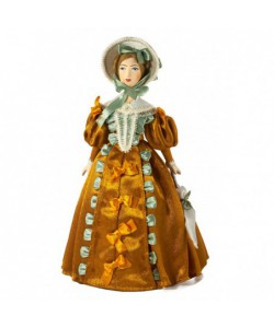 Porcelain art doll Lady in fashionable costume 19th century Pushkin era Handmade souvenir