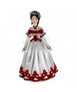 Porcelain Art doll Lady in a ball-dress 19th century Europe Handmade souvenir