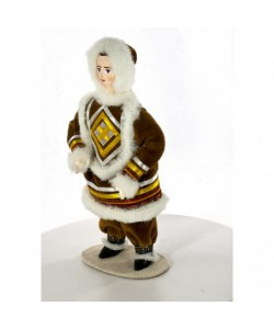 Porcelain ethnographic art doll Northern boy Handmade souvenir