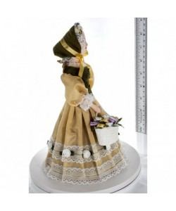 Porcelain Art doll Lady in a fashionable costume with a basket of flowers 19th century Petersburg Handmade souvenir