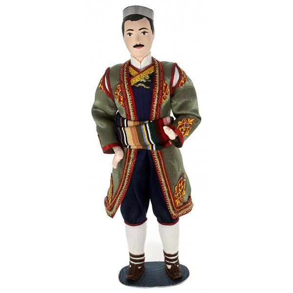 Porcelain art doll Montenegro folk men's costume Handmade souvenir