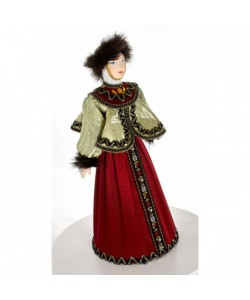 Porcelain art doll Young lady in winter festive clothes 19th century Russia Handmade souvenir