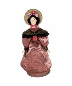 Porcelain art doll Lady in fashionable costume 1830s St. Petersburg Handmade souvenir