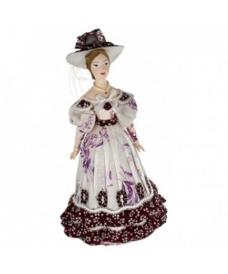 Porcelain Art doll Lady in fashionable costume Pushkin era 19th century Russia Handmade souvenir