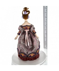 Porcelain art doll Young lady in fashionable dress 19th century Russia Handmade souvenir