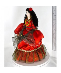 Porcelain art doll Gypsy Carmen stage image19th century Spain. Handmade souvenir