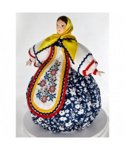 Porcelain art doll Matryoshka based on traditional Russian toy. Handmade souvenir