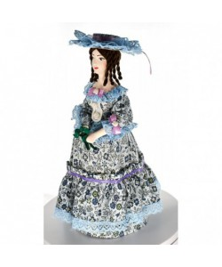 Porcelain art doll Lady in fashionable costume with bouquet 19th century St. Petersburg Handmade souvenir