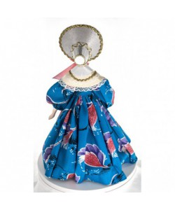 Porcelain art doll The young lady in the summer fashionable gown 1840s Russia Handmade souvenir