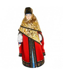Porcelain art doll Noblewoman in telogree, cap-and stolbuntse brocade scarf 16th century Russia Handmade souvenir