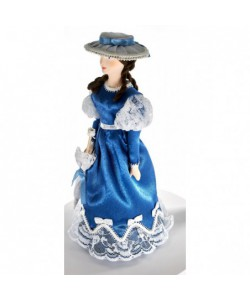 Porcelain art doll  Lady in a summer dress with an umbrella 19th century Petersburg Russia Handmade souvenir