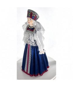 Porcelain ethographic art doll Wedding women's costume 19th century Russian Vologda Province Handmade souvenir