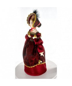 Porcelain art doll Lady in a walk costume 19th century St. Petersburg Russia. Handmade souvenir