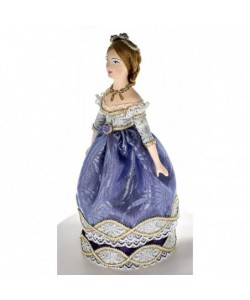 Porcelain Art doll Lady in a ball gown 19th century Europe Handmade souvenir