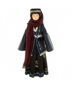 Porcelain ethnographic art doll Tiflis Tatar woman in traditional costume 19th century Caucasus. Handmade souvenir
