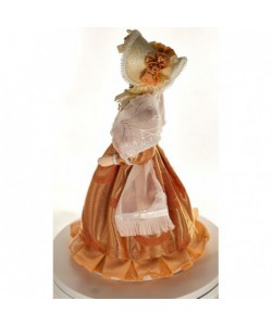 Porcelain Art doll Young lady in a summer costume with a white scarf 1830s St. Petersburg Russia Handmade souvenir