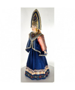 Porcelain art doll Russian folk costume with dushegreya (soul warming jacket) Handmade souvenir