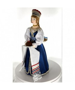 Porcelain art doll Petersburger woman's traditional North Russian costume with loaf 19th century Handmade souvenir