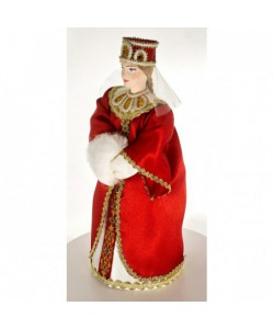 Porcelain art doll Princess in festive attire with white muff 16th century Rus Handmade souvenir