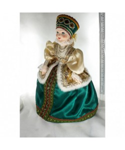 Big tea cosy art doll Russian costume. Porcelain, fabric. Handmade souvenir
