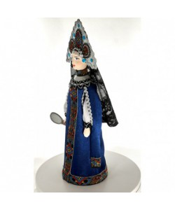 Porcelain Art doll Tsaritsa-stepmother with a mirror from Pushkin's fairy tale. Handmade souvenir