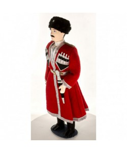 Porcelain art doll Cossack in chokha and kubanka 19th century Russia. Handmade souvenir