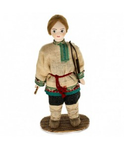 Porcelain ethographic art doll Shepherd boy in summer peasant clothes 19th century Arkhangelsk province Russia. Handmade souveni