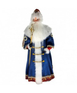 Porcelain art doll Ded Moroz Russian Santa Claus in a Boyar fur coat. Handmade Christmas New Year's toy