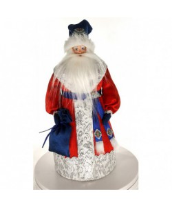 Porcelain art doll Ded Moroz Russian Santa Claus with a bag of gifts. Handmade Christmas New Year's toy