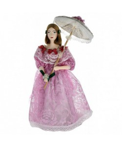 Porcelain art doll The young lady in a summer dress with an umbrella 19th century St. Petersburg Handmade souvenir