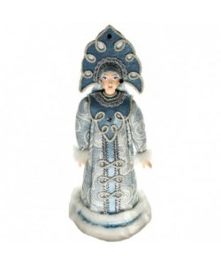 Porcelain art doll Snegurochka Russian Snow Maiden white fur coat and carved kokoshnik. Handmade Christmas New Year's toy