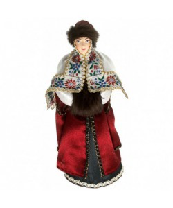 Porcelain art doll Noblewoman in winter clothes with a clutch of 16th century Russia Handmade souvenir