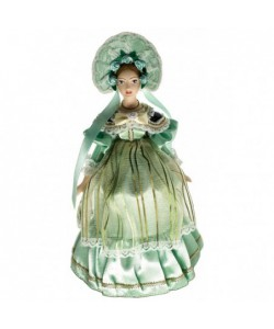 Porcelain art doll Lady in fashionable costume 19th century Europe Handmade souvenir