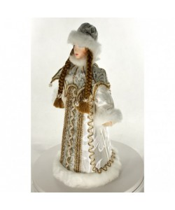"Porcelain art doll Snegurochka Russian Snow Maiden fur coat and cape with ""pearls"". Handmade souvenir"