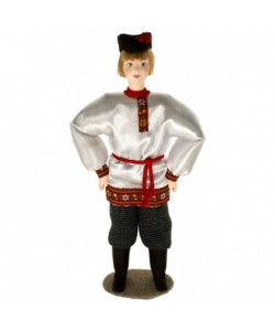 Porcelain art doll The guy in festive clothes 19th century Russia Handmade souvenir