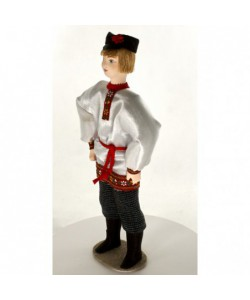 Porcelain ethographic art doll The guy in festive clothes 19th century Russia Handmade souvenir