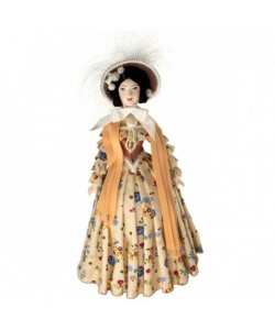 Porcelain Art doll  Lady in the fashionable costume 19th century Europe Handmade souvenir