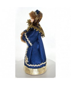 Porcelain art doll Moscow noblewoman in winter attire with a clutch 17th century Russia Handmade souvenir