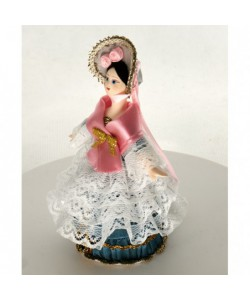 Porcelain art doll - jewelry box The young lady in the summer walking costume 19th century Handmade souvenir
