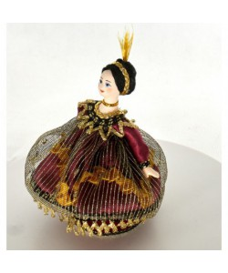 Art doll - jewelry box  Lady in fancy dress 19th century Europe Handmade souvenir