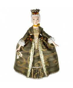 Art Doll The lady in the fashionable costume Rococo era with fan 18 century
