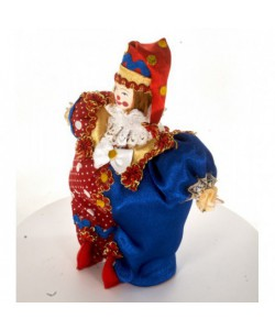 Porcelain art doll Clown Petrushka - character of Russian folk puppetry. Handmade souvenir