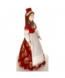 Porcelain ethnographic art doll Female costume 19th century Lihula Estonia. Handmade souvenir
