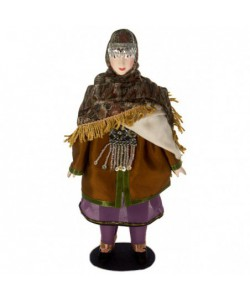 Porcelain ethnographic art doll Avars folk female costume North Caucasus Russia. Handmade souvenir