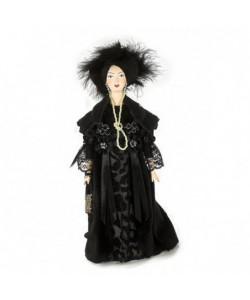 Porcelain Art doll Fine  Lady in black 19th century Europe Handmade souvenir