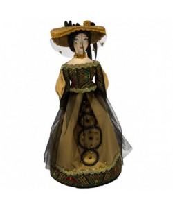 Porcelain Art doll Lady in black Handmade souvenir